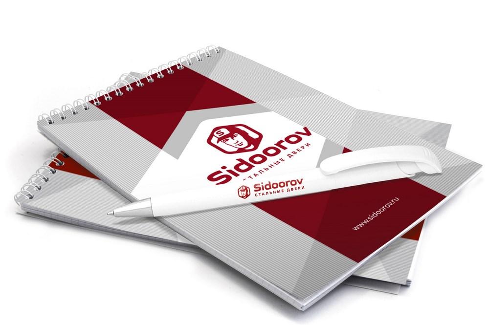 Ручка и блокнот с логотипом для компании Сидооров
